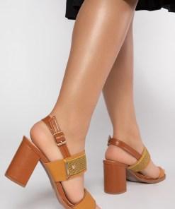 Sandale cu toc Claina Galbene