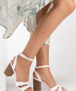 Sandale cu toc Caretta Albe