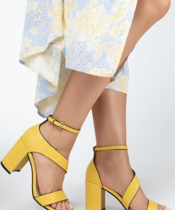 Sandale cu toc Delinda Galbene