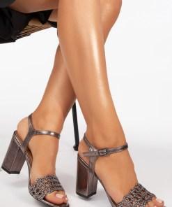 Sandale cu toc Keys Argintii