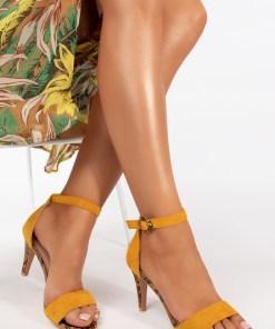 Sandale cu toc Aryna Galbene