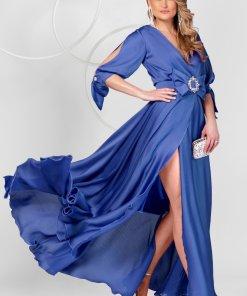 Rochie PrettyGirl albastra lunga de ocazie din voal clos cu elastic in talie cu maneci decupate
