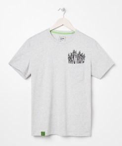 Sinsay - Tricou cu buzunar și imprimeu - Gri deschis