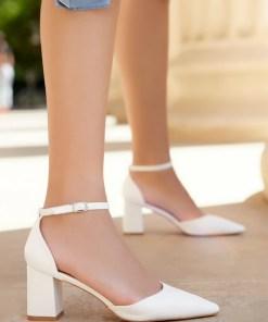 Pantofi cu toc Alivila Albi