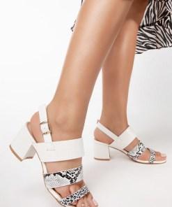 Sandale cu toc Marise Albe