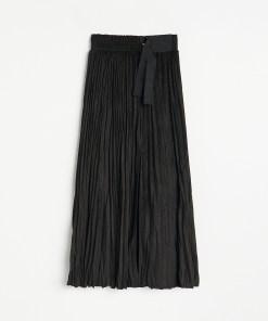 Reserved - Fustă plisată, din piele ecologică întoarsă - Negru
