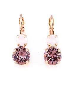 Cercei placati cu Aur roz de 24K, cu cristale Swarovski, Elizabeth | 1190-1022RG6