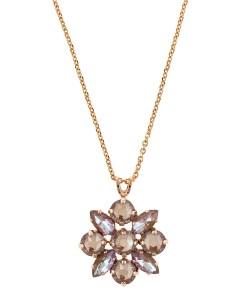 Pandantiv cu lant placat cu Aur roz de 24K, cu cristale Swarovski, Cappuccino DeLite | 5435/4-148148RG