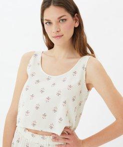Pijama cu talie inalta si model floral 3970773