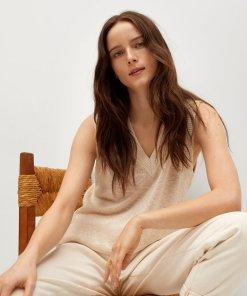 Vesta lunga tricotata cu decolteu in V Oporto 3687797