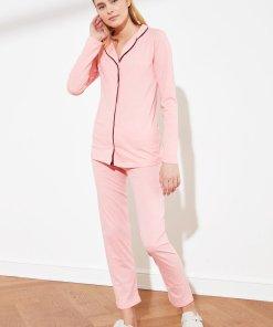 Pijama de bumbac cu detalii contrastante 3501753