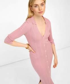 Rochie midi tip creion din tricot Roșu și roz