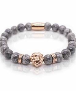 Bratara pietre semipretioase jasp gri si cap leu - Rose Gold