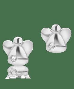 Cercei pentru copii din aur alb de 14K cu diamant de 0.04ct 8130