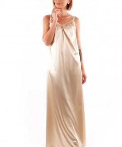 Rochie lungă tip furou din satin - Auriu