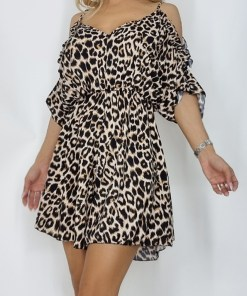 Salopeta scurta Ashley din satin leopard