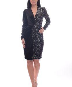Rochie de ocazie conica cu paiete negre