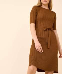 Rochie din tricot cu striații Ciocolatiu