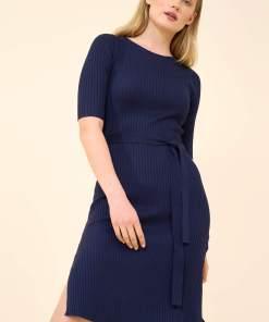 Rochie din tricot cu striații Albastru