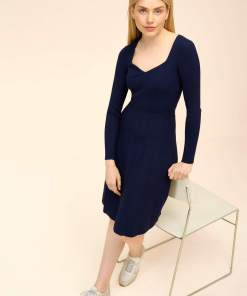 Rochie în cloș din tricot Albastru