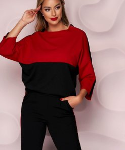 Trening Lady Pandora rosu cu negru cu croi larg cu talie normala si buzunare la pantaloni
