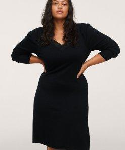 Rochie tricotata fin cu insertie de dantela Blonli 4063064