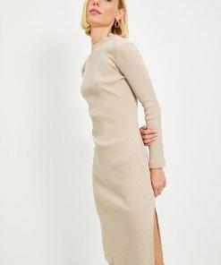 Rochie midi tricotata fin cu slit lateral 4081103