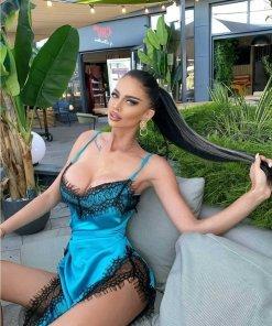 Rochie dama eleganta utopia turquoise din satin