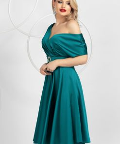 Rochie de ocazie Pretty Girl eleganta turquoise in clos din tafta