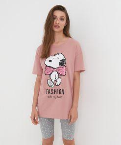 Sinsay - Pijama din două piese Snoopy - Roz