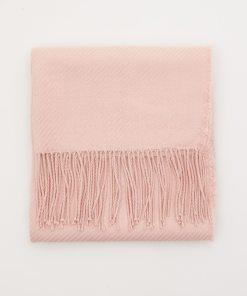 Sinsay - Fular structurat, cu franjuri - Roz