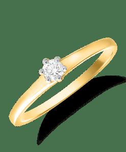 Inel de logodna din aur galben de 18K cu un diamant solitaire de 0.11ct 18566