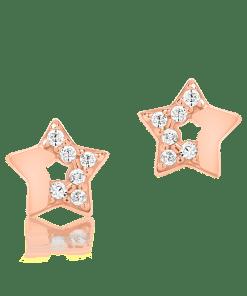 Cercei stelute din aur roz de 14K 18718