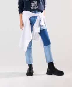 Sinsay - Blugi straight high waist - Albastru