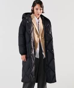 Sinsay - Jachetă matlasată, cu glugă - Negru