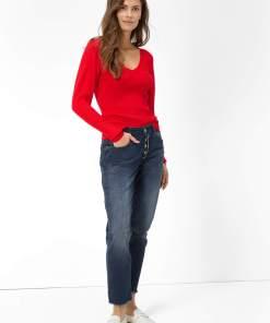 Blugi girlfriend regular waist Gri
