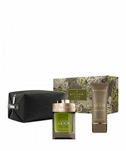 Set cadou Bvlgari Wood Essence (Apa de parfum 100 ml + After shave balsam 100 ml + Geanta cosmetice), pentru barbati