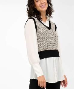 Vestă de tricot cu cămașă Alb