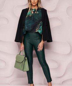 Pantaloni StarShinerS verde inchis casual cu un croi mulat din piele ecologica cu talie inalta si fermoar in lateral