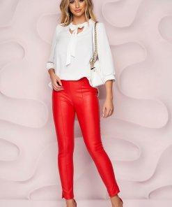 Pantaloni StarShinerS rosii casual cu un croi mulat din piele ecologica cu talie inalta si fermoar in lateral