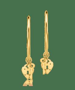 Cercei tortite cu charmuri din aur galben de 14K 19241