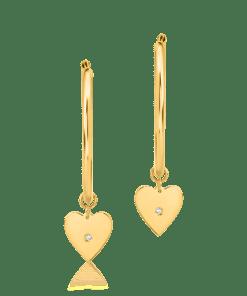 Cercei tortite cu inimioare din aur galben de 14K 19242