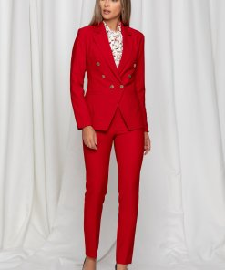 Compleu LaDonna rosu cu nasturi aurii pe sacou si pantaloni
