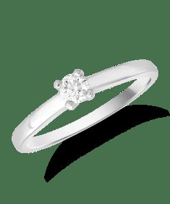 Inel de logodna din aur alb de 18K cu un diamant solitaire de 0.19ct 19449