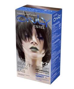 Vopsea-gel permanenta pentru par Estel Only, 6/71 Blond inchis maro-gri, 115ml