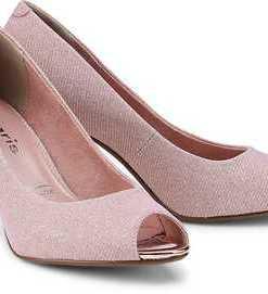 Glitzer-Peeptoe von Tamaris in rosa für Damen. Gr. 36,37,40