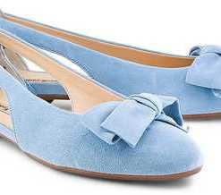 Velours-Ballerina von Paul Green in blau für Damen. Gr. 36,38,38 1/2,39