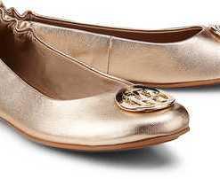 Leder-Ballerina von Tommy Hilfiger in gold für Damen. Gr. 36