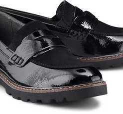 Lack-Loafer von Tamaris in schwarz für Damen. Gr. 36,37,38,39,40,41