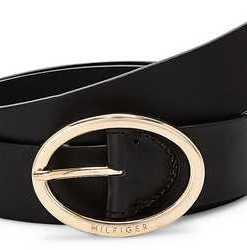 Oval Buckle Belt von Tommy Hilfiger in schwarz für Damen. Gr. 80 cm,95 cm